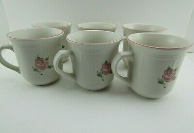 Set Of 6 Gibson Housewares Pink Rose Flower White Mug Cup