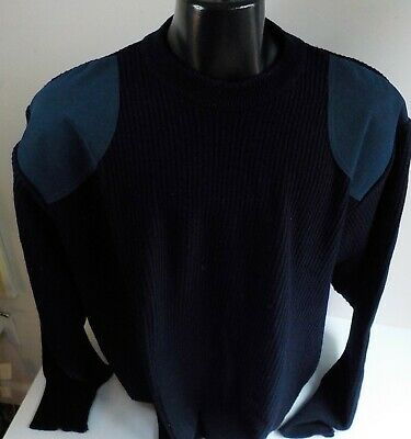 vtg barbour navy blue pure wool suede trim sweater sz xl made in scotland