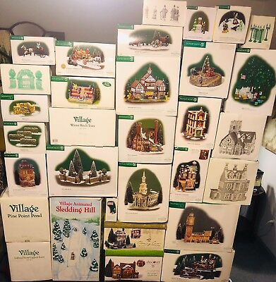 Dept. 56 Dickens Village Lot Of Buildings And Accessories (brand New