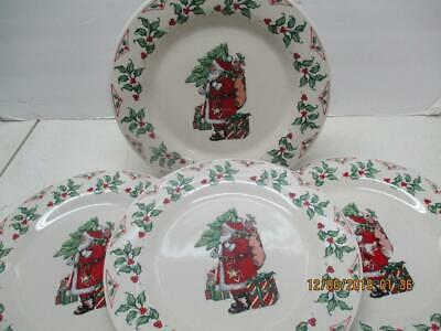 "Vtg 4 Gibson Housewares 10-1/2 Dinner Plates ""santa Claus Holding Tree"" Holly"