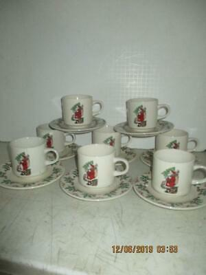 "Vintage Gibson Housewares 8 Sets Cup And Saucer  ""santa Claus Holding Tree"""