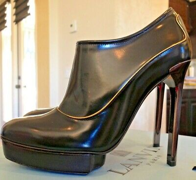 very rare lanvin never worn exclusive black w gold pin strip angle boots 7.5 us