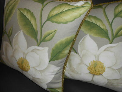 Sanderson & Sons Throw Pillow Covers Grandiflora Linen Cotton Magnolia New Pair