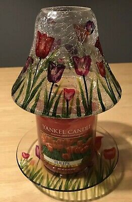 Yankee Candle Tulip Crackle Glass Jar Shade & Plate Includes Large Tulip Candle