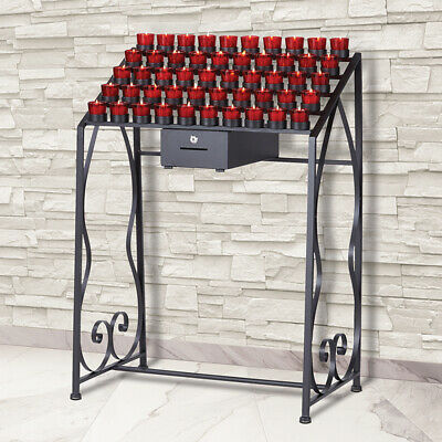 50 Votive  Wrought Iron Candle Stand With Locking Offering Box