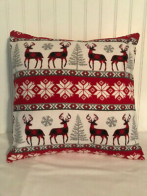 "Deer Snowflake Buffalo Plaid 16"" X 16"" Or 18""x18""/ Flannel Cover/christmas"