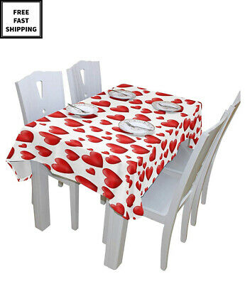 New Dining Happy Valentines Day Red Love Heart Solid In & Outdoor Tablecloth