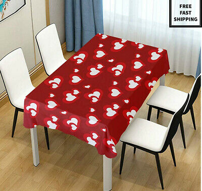 New Dining Happy Valentines Day Red Love Heart Indoor & Outdoor Tablecloth Decor