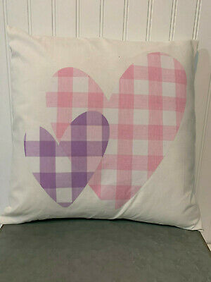 "Pink & Purple Buffalo Plaid Double Heart On White/16"" X 16""/ Cotton Pillow Cover"