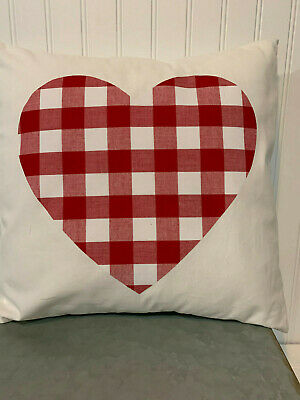 "Red And White Buffalo Plaid Heart On White/16"" X 16""/ Cotton Pillow Cover"