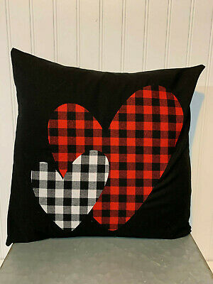 "Buffalo Plaid Double Heart On Black/16"" X 16""/ Cotton Pillow Cover"