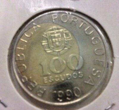 Very Rare Error Center 100 Escudos 1990 Portugal Unique Date Not Catalogue