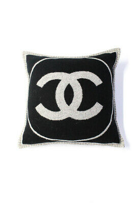 Chanel Logo Reversible Top Stitched Edge Square Throw Pillow Black Grey