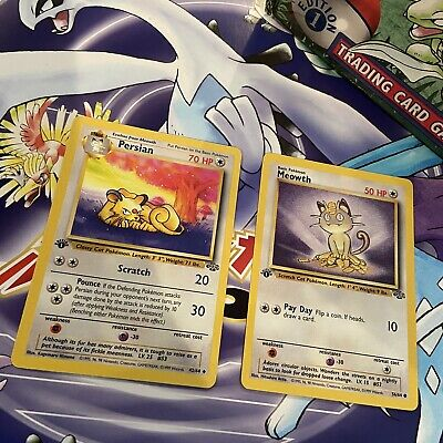 Pokemon Cards - 1st Edition Meowth 56/64 and Persian 42/64 (Jungle Set)