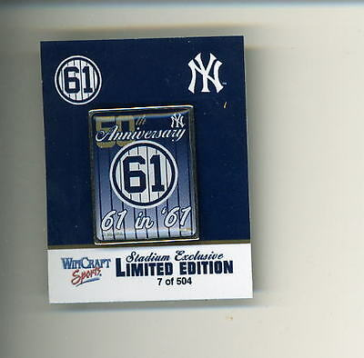 Roger Maris 1961 Pin # 7 Of 504 Sold Yankee Stadium 9/24 Limited Edition Mantle