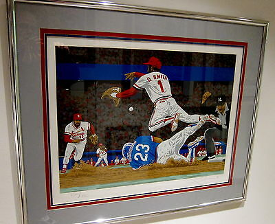 Ozzie Smith High Flying St Louis Cardinals  Limited Edition Serigraph Rick Rush