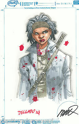 The Walking Dead Michonne Color Original Sketch Humberto Ramos Edgar Delgado