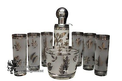 Libbey Signed Etched Glassware Barware Set Shaker Glasses & Ice Tray Leaves