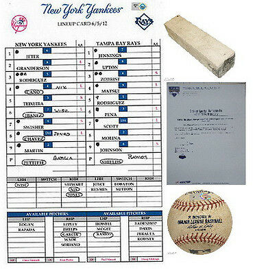 Yankee Stadium Game Used Main Field Pitching Rubber Lineup Card