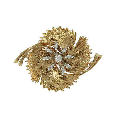 Vintage 18k Gold Diamond Brooch