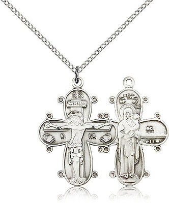 ".925 Sterling Silver Crucifix Pendant For Women On 18"" Chain - 30 Day Money B..."