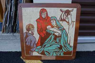 """+ Older Wood Plaque With Etched Scene: """"the Nativity"""""""