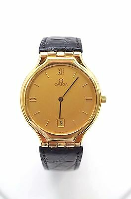 W359-18k Yellow Gold Omega Deville Watch With Original Omega Leather Band