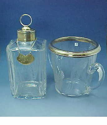 Paris Puiforcat Whisky Decanter & Ice Bucket Set French Silver Gilt Crystal 1900