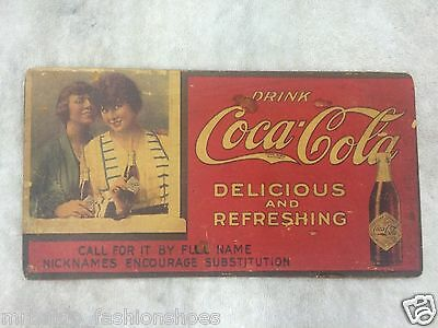 Vintage Early Coca Cola Soda Drink Sign Ad Diamond Label Bottle  Old Rare!