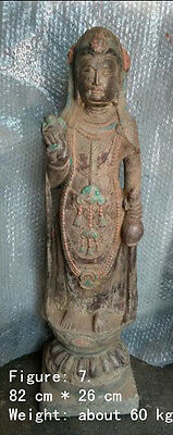 82 Cm * / Chinese Folk Collection Old Carved Jade Buddha Had, Guanyin Buddha