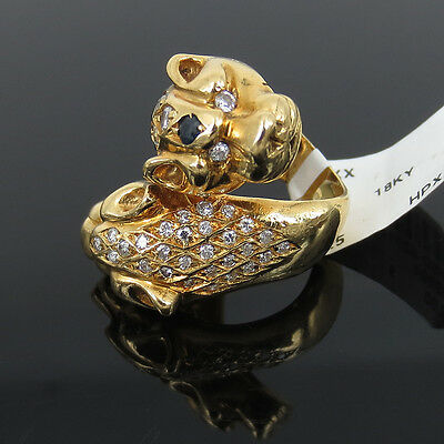 Vintage 0.65ct Diamond & 0.25ct Sapphire 18k Yellow Gold Dragon Croosover Ring
