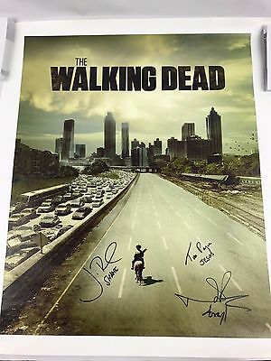 Norman Reedus Jon Bernthal Tom Payne Autograph 16x20 Canvas Walking Dead Coa 2