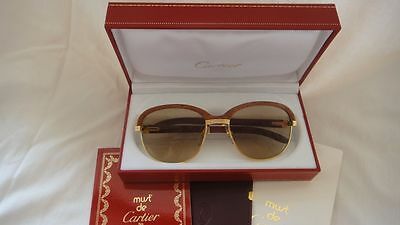 Vintage Cartier Malmaison Palisander Wood 54mm 17 Sunglasses France 18k