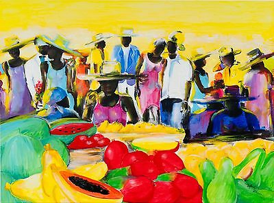"Original Acryl On Canvas By Jamaican Walford Williams - Signed - 46"" X 34"" -"