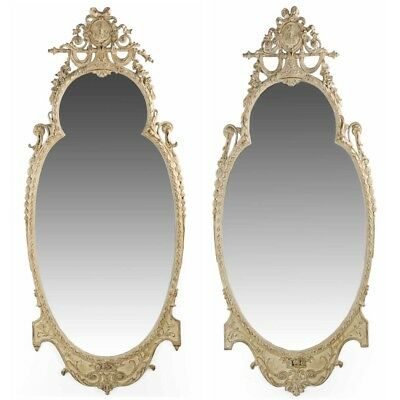 Two Adams Style White Painted Antique Pier Wall Mirrors, Early 20th Century