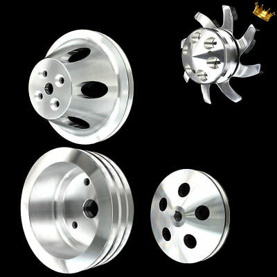 Billet Small Block 4 Pulley Set Fits Chevy 283 327 350 With Short Wp And Ps