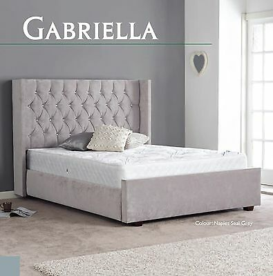 Gabriella Fabric High Quality Bed 3ft 4ft6 5ft 6ft Headboard + Colour Options