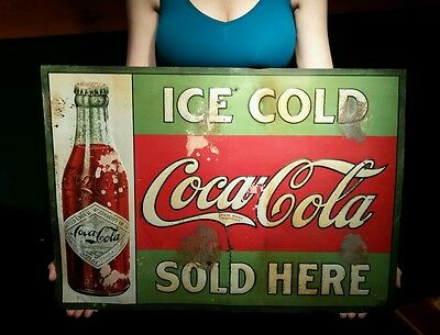 Vintage 1908 Coca Cola Soda Drink Sign Diamond Label Bottle Century Old Rare!