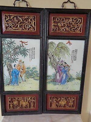 Antique Chinese Pair Porcelain Plaque Panel Painting W Gilt Deep Wood Carving