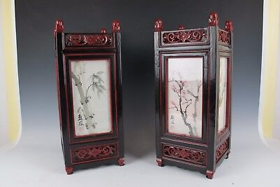 A Silk Wood Chinese Antique Lantern Lamp Red Dark Wood Set Of 2 By Su Feng Yang