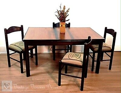 French Farmhouse Table With Extension Leaves And Four Chairs