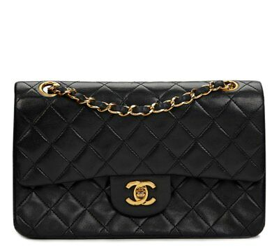 chanel black quilted lambskin vintage small classic double flap bag hb553