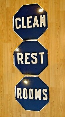 Collectibles - Porcelain Gas Station Clean Rest Rooms Signs