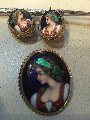 Antique 14k Gold Hand Painted Porcelain Portrait Brooch / Pendant And Earrings