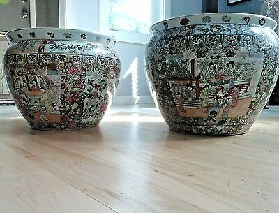 2 Porcelain Pottery Fish Bowl Planter  20th C Chinese Red Mark Famille Rose
