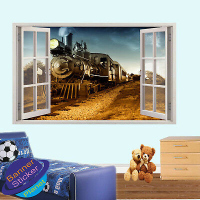 Old Steam Train Wild West Poster Wall Sticker 3d Art Mural Decal Room Decor Xh9