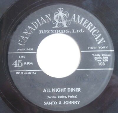 45 Rpm Record Santo & Johnny No Sleep Walk All Night Diner Label Both Sides Rare