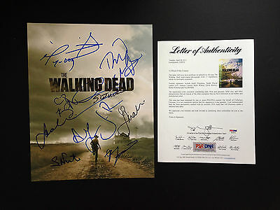 The Walking Dead Cast 11 Signed 11x14 Photo Psa Coa Jon Bernthal Andrew Lincoln