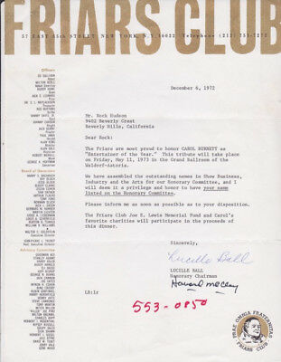 Rock Hudson / Lucy (lucille) Ball / Friars Club Signed Correspondence - 2 Piece