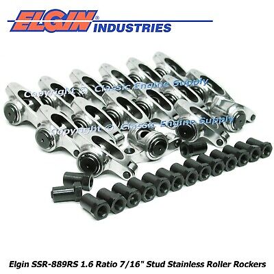 "Stainless Steel Roller Rocker Arms 1.6 Ratio 7/16"" Studs Ford 289 302 351w"